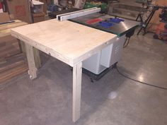 Collapsible out feed table for table saw grizzly G0690