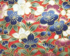 Asian Oriental Japanese Floral Design on RED by furrybaby on Etsy. $8.75, via Etsy.