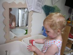 Montessori Messy: Her Own Little Sink: Self-Care and Washing Up Montessori, Mini Me, Self Care, Her Hair, Sink, Classroom, Children, Counting, Toddlers