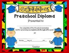 diplomas for preschool kindergarten first grade freebie