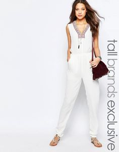938f91d6e6d1 Glamorous Tall Embroidered Plunge Neck Jumpsuit at asos.com