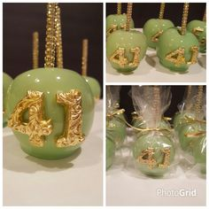Birthday Candy Apples....mint green and metallic gold theme