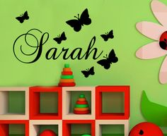 YOUR NAME PERSONALISED WALL ART STICKER KIDS Butterfly