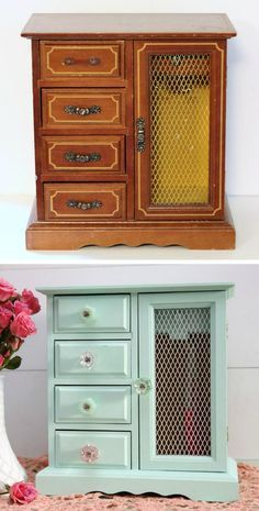 before and after jewelry box makeover   A #2usestuesday Feature