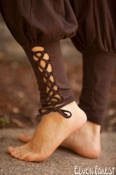 Lace Up Yoga Harem Pant with Cut Out lace up Ankle by ElvenForest