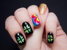 St. Patrick's Day Nail Art (chalkboard nails)