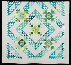 2015 Quilt Expo Quilt Contest, 3rd Place, Category 1, Hand-quilted Bed Size-Pieced: Aqua Delight, Pamela Lanza, Mt. Prospect, Ill. quiltexpo.com