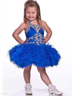 MZ1030 2014 Pretty Royal Blue Organza Halter Neck Ruffled Knee-Length Rhinestone Flower Girl Dress $99.99