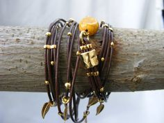 Brown LeatherWrap Bracelet MultiStrands with Gold by designmiracle, $44.90