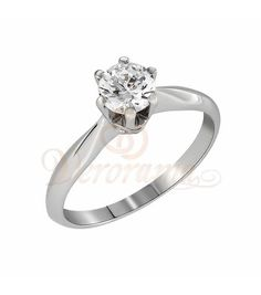Μονόπετρo δαχτυλίδι Κ18 λευκόχρυσο με διαμάντι κοπής brilliant - MBR_068