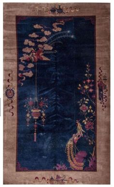 Superb Deep Cobalt Blue Ground Chinese Art Deco Rug With Pheasants 11 X 7 C1920