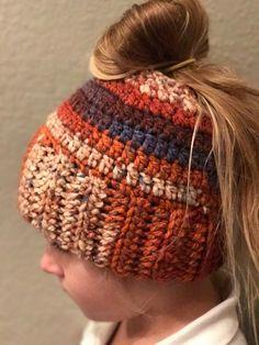 Ponytail hat , messy bun hat, ponytail, messy bun, crochet hat, bun hat, multi color, winter hat, runners hat,gifts, crochet messy bun hat by HookedCustomCreation on Etsy