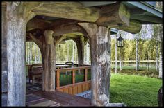 Porch. Why are the logs upside down?