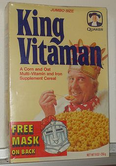 Apparently King Vitaman cereal is still produced, but I haven't seen it in stores since I was a kid. I loved it as a child, probably because they marketed right to me with the creepy Bob Uecker look-alike that is a sure way to grab a kid's attention. Retro Recipes, Vintage Recipes, Vintage Advertisements, Vintage Ads, Vintage Stuff, Kids Cereal, Cereal Boxes, 80s Kids, I Remember When