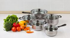 The dangers of Teflon coating on non-stick pans, made of PFOA. Negative health effects and connections with infertility. Small Kitchen Cabinets, Kitchen Layout, Small Kitchens, Pot And Pan Lids, Stacked Pots, Pot Lid Organization, Hanging Pans, Pan Storage, Stainless Steel Pot