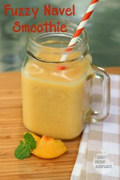 Fuzzy Navel Smoothie: A refreshing blend of peaches, orange juice and vanilla almond milk #smoothie