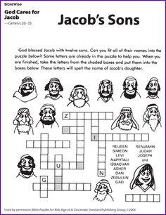 Jacob's Sons Crossword Puzzle from BibleWise - Kids Korner