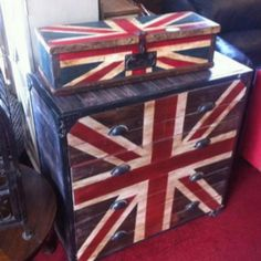 Union Jacks. Emperors silk, pure white & Aubusson. From Annie Sloan's Facebook page