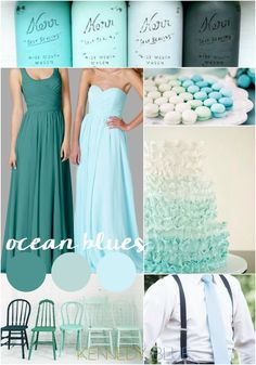 Perfect for a teal and mint wedding. Get inspired by this gorgeous ocean color palette featuring stunning shades of green and blue.