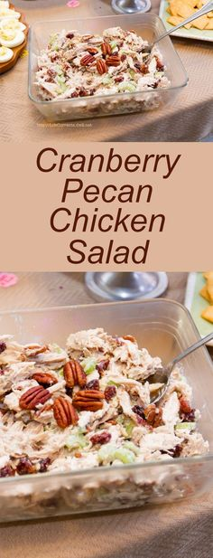 Cranberry Pecan Chicken Salad - A great lunch or a wonderful addition to any pot luck or party spread!: Cranberry Pecan Chicken Salad - A great lunch or a wonderful addition to any pot luck or party spread! Pecan Chicken Salads, Chicken Salad Recipes, Salad Chicken, Cranberry Chicken Salads, Chicken Wraps, Chicken Salad On Croissant, Avocado Chicken Salads, Simple Chicken Salad, Pasta Salad