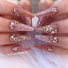 Golden Rose Nails – 💫Rose Gold Princess💫 Using all Glamandglits :- ColourPop – Sunburn Naked -… – Nagellack Diva Nails, Glam Nails, Bling Nails, 3d Nails, Elegant Nail Designs, Beautiful Nail Designs, Perfect Nails, Gorgeous Nails, Gold Acrylic Nails