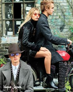 Hailey Baldwin and Neels Visser ride in style in Fay, as seen in Vogue Japan.