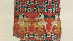 """Silk with """"Samson"""" and the lion (detail), late 6th–early 7th century. Made in Eastern Mediterranean. Weft-faced compound twill (samit) in polychrome silk. Byzantine Collection, Dumbarton Oaks, Washington, D.C. (BZ.1934.1)"""