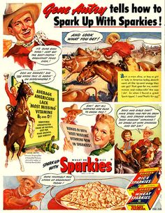 Spark up with Sparkies! 1947 | Gene Autry #vintage #western #sparkies