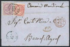 Italy, 19/SEP/1865 MENAGGIO - ARGENTINA: letter franked by Sc.31 + 32 (Sa.L20+L21), datestamp of Menaggio, with several postal markings on front and reverse, excellent quality, rare! Starting Price (11/2016): 157 EUR.