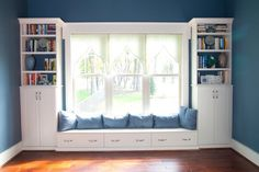 A wall-to-wall storage unit incorporates an extended window seat. This might be good for the basement minus the windows. Window Seat Storage, Wall Storage, Built In Storage, Bedroom Storage, Window Seats, Craft Storage, Storage Ideas, Window Seat Cushions, Storage Place
