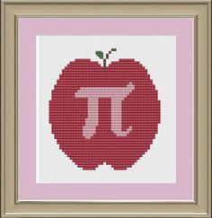 Apple pi cute crossstitch pattern by nerdylittlestitcher on Etsy, $3.00