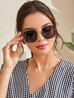 Metal Frame Square Sunglasses | SHEIN South Africa I Got This, Cat Eye Sunglasses, Fashion News, Metal, Frame, South Africa, Shades, Picture Frame, Metals