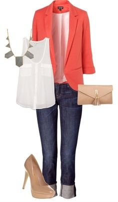 Coral blazer + white tank + jeans + statement necklace + nude flats