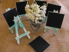 6 Mini Wooden Wedding Chalkboard Signs & Easels by hanscreations, $36.00