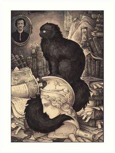 ArtStation - Cat Named Edgar Poe, Candra Gloomblade Edgar Allan Poe, Caricatures, Illustrations, Illustration Art, Science Fiction, Allen Poe, Goth Art, Arte Horror, Victorian Gothic