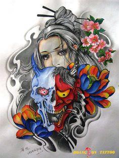hình xăm geisha 13