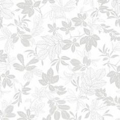 W108109 Extra Wide Cotton Fabric - Studio E Grey on White Modern Leaf