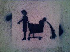 Street Art München Juli2012 (1) by liborius on Flickr.A través de Flickr: baby kid child toddler kind säugling junge mädchen Mutter mother kotzen kotzt aus Einkaufswagen Cart shopping Trolley anti consumer consumption Konsumkritik critique gegenkultur sich übergeben kaufen ist zum kotzen