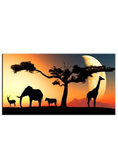 Landscape African Animals at Sunse printed on to a canvas which would be a great edition to any home