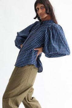 (1) New Arrivals – Oroboro Store Cashmere Yarn, Gingham Fabric, Smocking, Bell Sleeve Top, Button Down Shirt, Feminine, Beige, Denim, Model