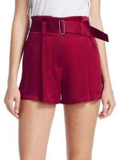 A.L.C. Deliah Belted Shorts, Black ,Berry Colour