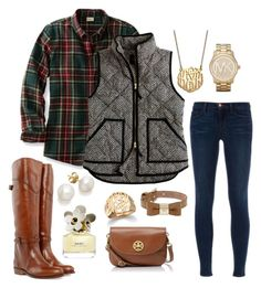 monograms, vests, and plaid. by the-southern-prep on Polyvore featuring polyvore, fashion, style, J.Crew, J Brand, Frye, Tory Burch, Michael Kors, Mulberry, Ginette NY, BaubleBar and Marc Jacobs