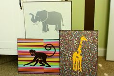 Cute and easy wall decor for a baby's room!  Mod Podge Scrapbook paper onto canvases and then add animals.