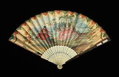 Fan Made Of Ivory, Mother-Of-Pearl, Parchment, Gouache, Tortoiseshell And Metal - Probably Chinese    c.3rd Quarter 18th Century