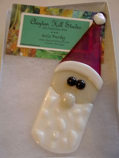Fused Glass Santa Ornament Ziggy by chneos on Etsy