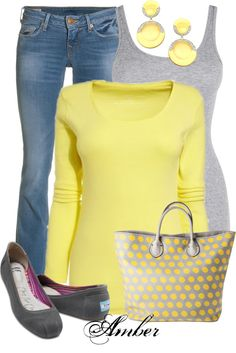 """Casual Yellow & Grey Outfit"" by stay-at-home-mom on Polyvore"