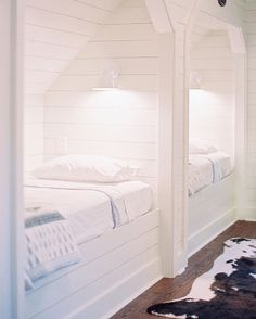 is making it much harder for me to leave our house with this amazing shot of the bunk room! Custom Bunk Beds, Attic Bedroom Small, Barn Light Electric, Bunk Rooms, Farmhouse Renovation, Victorian Farmhouse, Dutch Door, Cozy Place, Beautiful Bedrooms