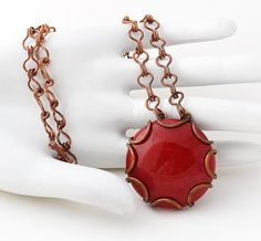 Copper Wire-wrapped Necklace with Red Cabochon