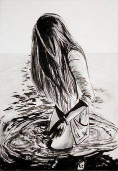"Original Black & White Art Entitled: ""Girl at Sea"". £45.00, via Etsy."
