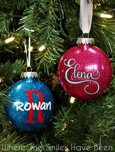 DIY Personalized Glitter Ornaments | Where The Smiles Have Been.  Such an easy and inexpensive gift idea or keepsake!